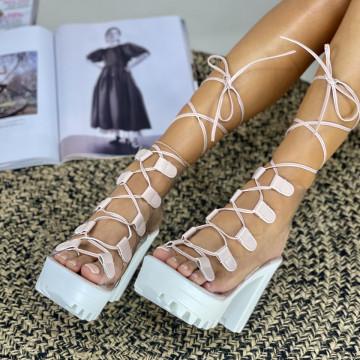 Sandale Cu Toc Armina Roz