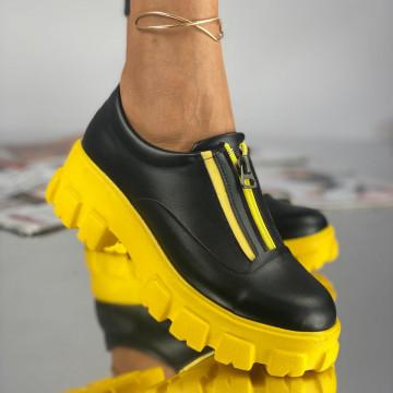 Pantofi Dama Casual Anana Negri Galbeni