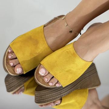 Papuci cu Platforma Meda Galbeni