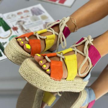 Sandale cu Platforma Amoda Multicolor
