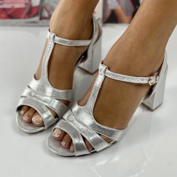 Sandale cu Toc Lina Argintii