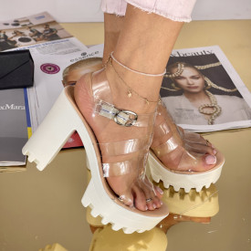 Sandale Cu Toc Miana Bej