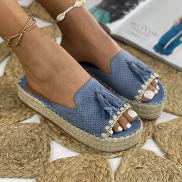 Papuci cu Platforma Alia Albastri