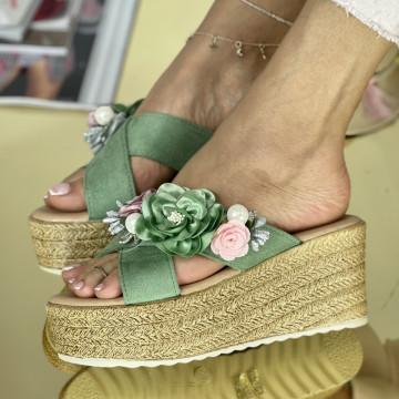 Papuci Flora Verzi