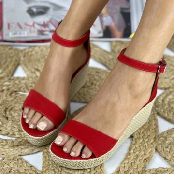 Sandale cu platforma Aylin Rosii