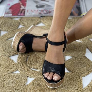 Sandale cu Platforma Pera Negre
