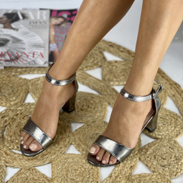 Sandale cu toc Ada Argintii