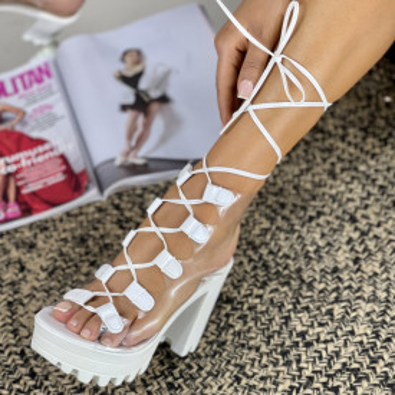Sandale Cu Toc Armina Albe