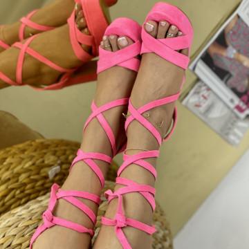 Sandale Cu Toc Clavenda Fuchsia