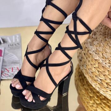 Sandale Cu Toc Clavenda Negre