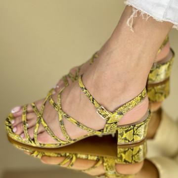 Sandale Cu Toc Lauser Galbene
