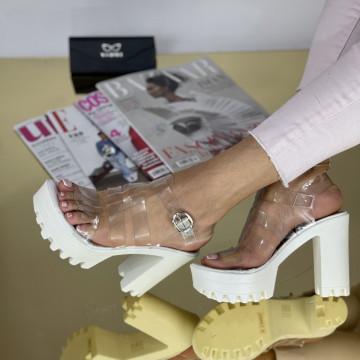 Sandale Cu Toc Miana Albe