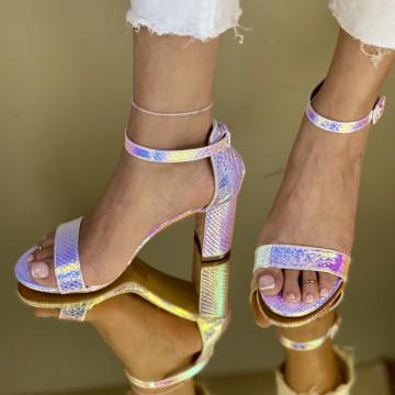 Sandale Cu Toc Somalia Argintii