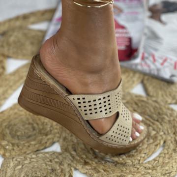 Papuci cu Platforma Rotas Bej