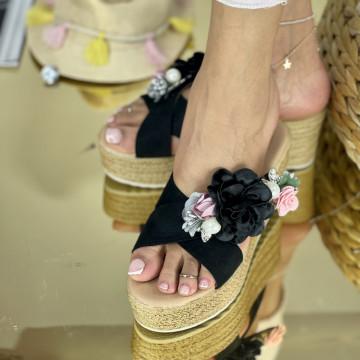 Papuci Flora Negri