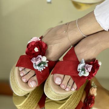 Papuci Flora Rosii