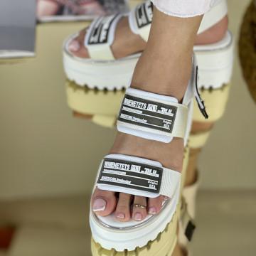 Sandale cu platforma Angina Albe