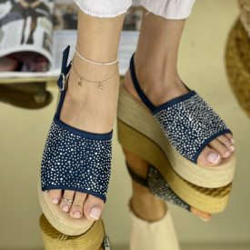 Sandale cu platforma Donetta Bleumarin
