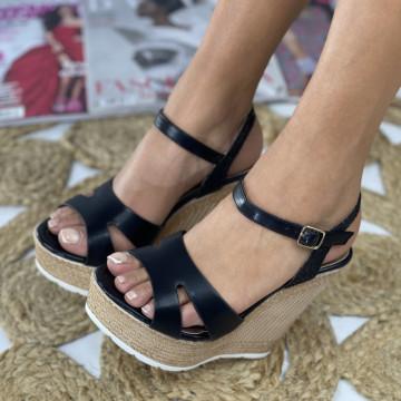 Sandale cu Platforma Fan Negre