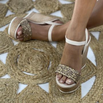 Sandale cu Platforma Freda Bej