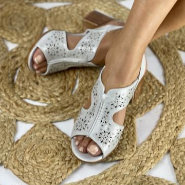 Sandale cu Toc Ama Albe