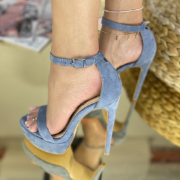 Sandale Cu Toc Amaris Albastre