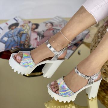 Sandale Cu Toc Comenda Argintii