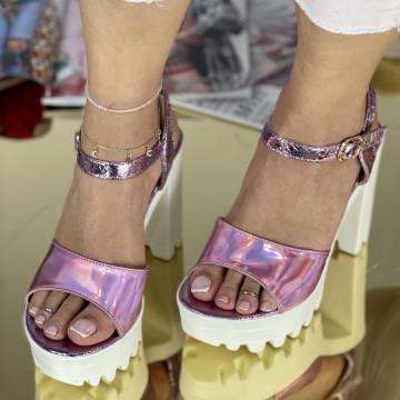Sandale Cu Toc Comenda Roz