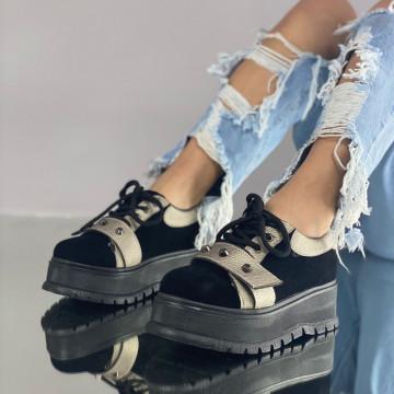 Pantofi Dama Casual Coreca Negri-Gri