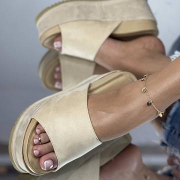 Papuci Crinita Bej