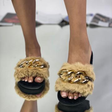 Papuci Sheila Beige