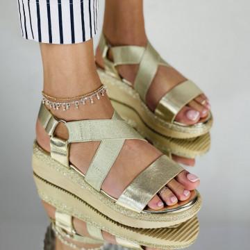 Sandale Cu platforma Alexos Aurii
