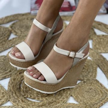 Sandale cu Platforma Andra Bej