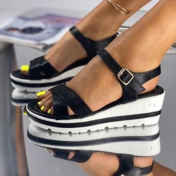 Sandale cu Platforma Coni Negre