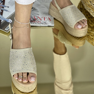 Sandale cu platforma Donetta Bej