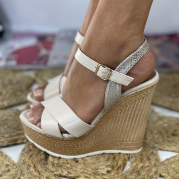 Sandale cu Platforma Moria Bej