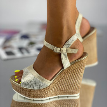 Sandale cu Platforma Pera Bej