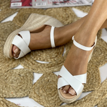 Sandale cu Platforma Trima Albe