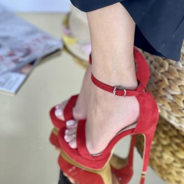 Sandale Cu Toc Amaris Rosii