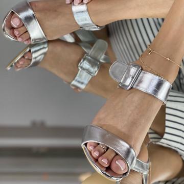 Sandale Cu Toc Jonei Argintii