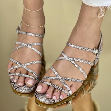 Sandale Cu Toc Lauser Albe