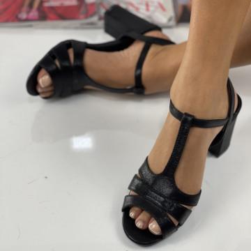 Sandale cu Toc Lina Negre