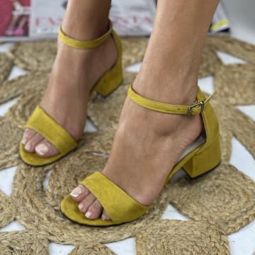 Sandale cu toc Mora Galbene
