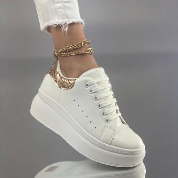 Pantofi Sport Cucu Alb Auriu