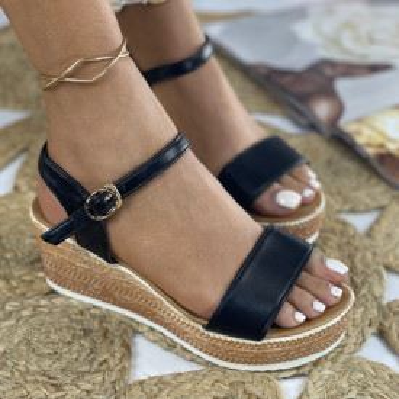 Sandale cu Platforma Makra Negre