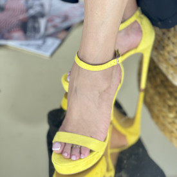 Sandale Cu Toc Amaris Galbene