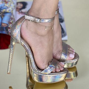 Sandale Cu Toc Boa Aurii