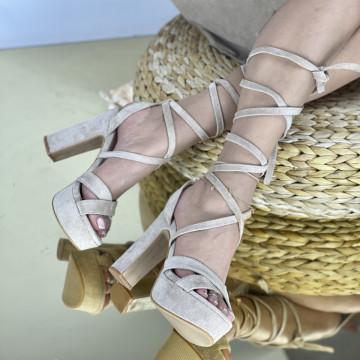 Sandale Cu Toc Clavenda Bej