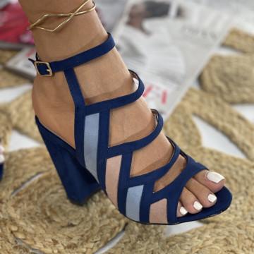 Sandale cu Toc Teril Bleumarin