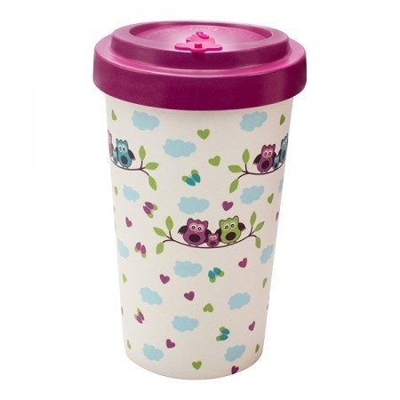 Tazza Bamboo Owls purple - Woodway immagini